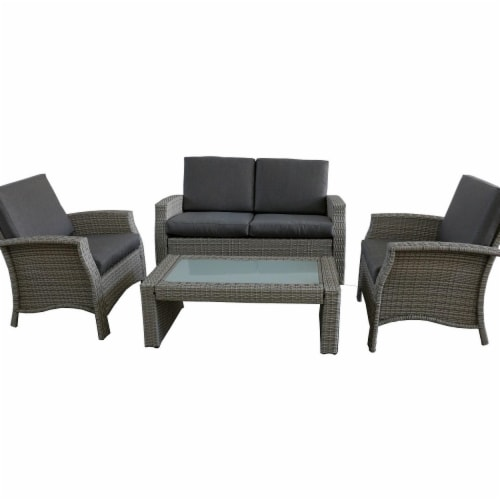 fry s food stores northlight 32591330 4 piece gray resin wicker outdoor patio furniture set gray cushions 4