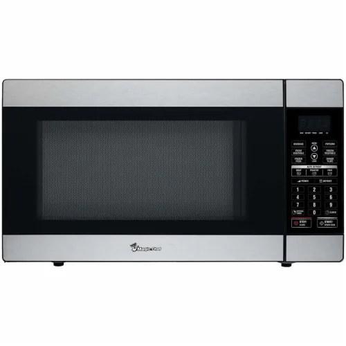 king soopers magic chef 1100 watt countertop microwave oven stainless steel 1 8 cu ft