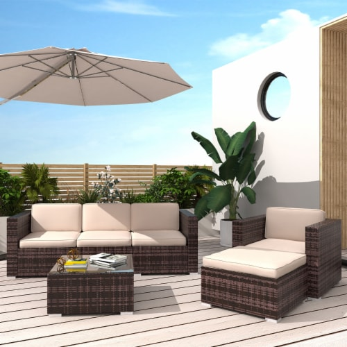 food 4 less kumo outdoor sectional 4 piece patio furniture all weather wicker furniture sofa couch set 1 unit
