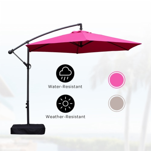 fred meyer kumo 10 ft patio umbrella outdoor with base market offset umbrella for garden rose red 1 unit