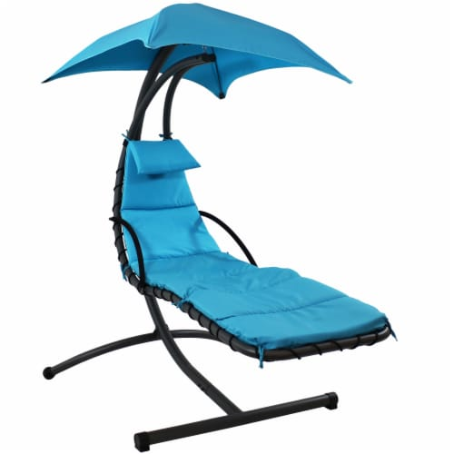 dillons food stores sunnydaze hanging floating patio chaise lounger chair with canopy teal 79 1 stand 1 chaise lounge