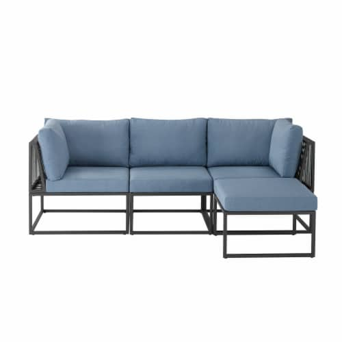 fry s food stores 4 piece outdoor cord modular sectional blue 1