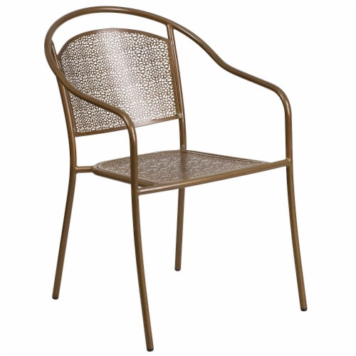 kroger flash furniture co 3 gd gg gold indoor outdoor steel patio arm chair with round back 1