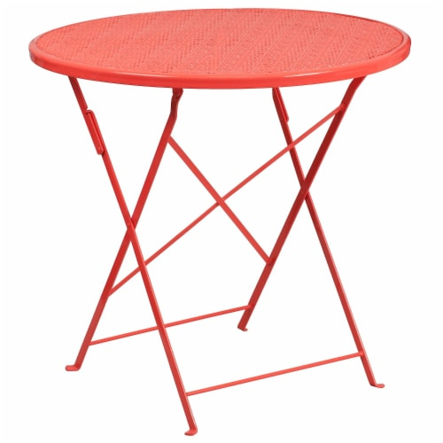 fry s food stores flash furniture co 4 red gg 30 in round coral indoor outdoor steel folding patio table 1