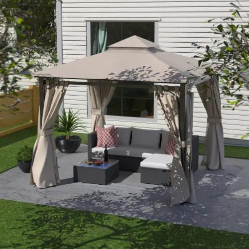 kumo garden gazebo polyester fabric 10 x 10 patio gazebo canopy with mosquito netting 1 unit