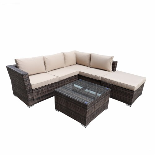 kumo outdoor sectional sofa 4 piece wicker patio furniture with waterproof cover 4 pieces