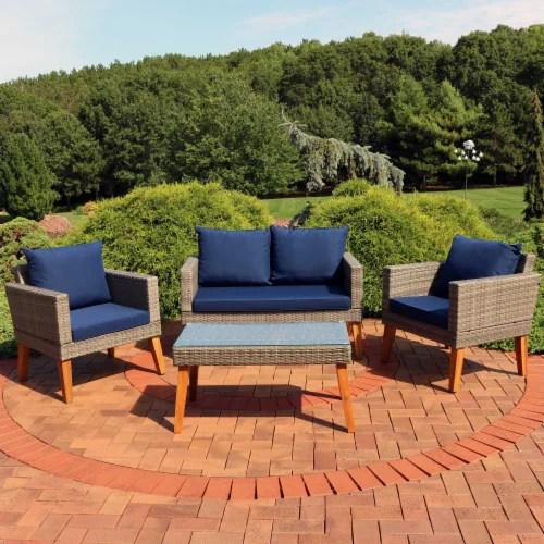 sunnydaze clifdon 4 piece patio furniture set rattan and acacia with cushions 1 unit s