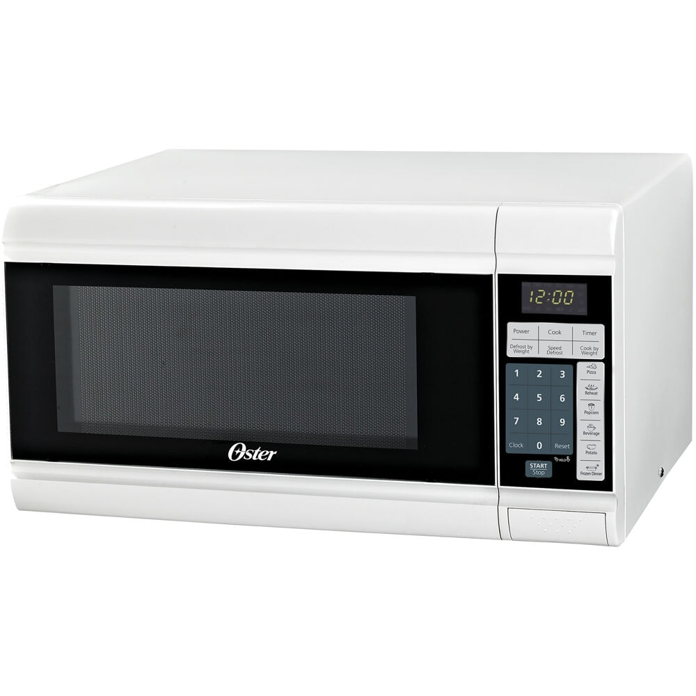 oster 900w push button open microwave oven white 0 9 cu ft