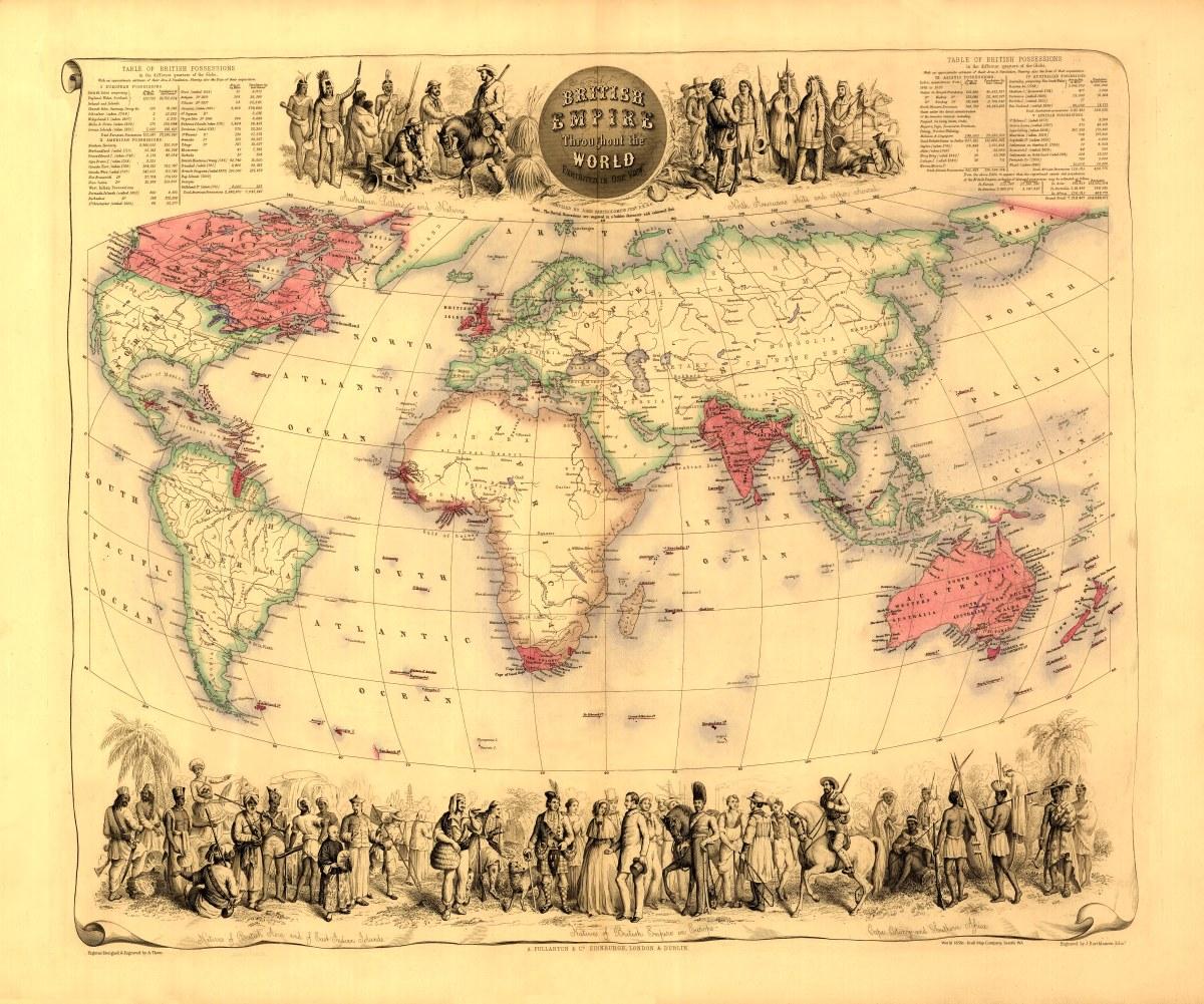 World 1850s British Empire Kroll Antique Maps