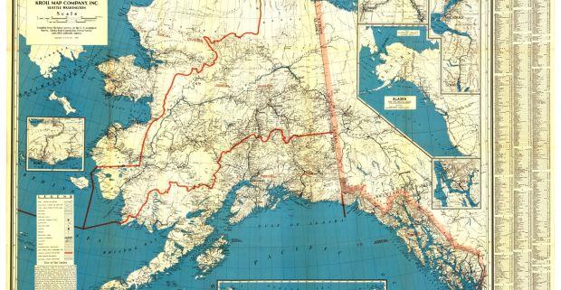 "Kroll Map Company's Map of Alaska, circa 1936, 36""x 25.5"""