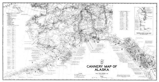 "Kroll Map Company's Alaska Cannery Map, circa 1948, 36""x 19.5"""