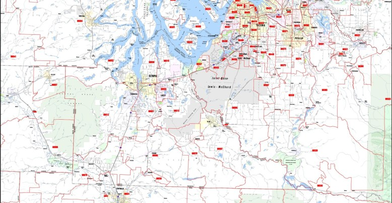 Puget Sound South Arterial Level Map with Zip Codes