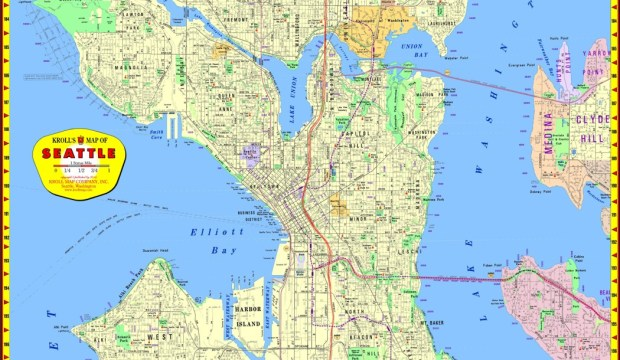 "Kroll's Seattle Street Map 25"" x 38"", $12.95 paper/ $22.95 laminated"