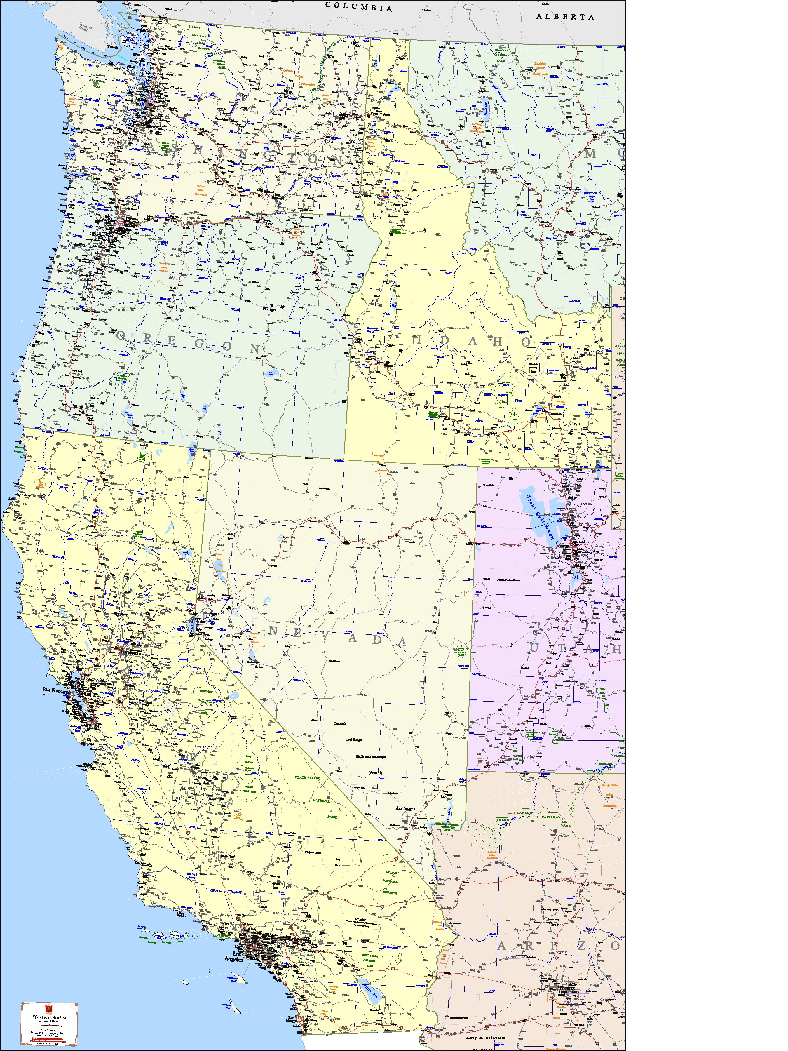 West Coast States Map - Kroll Map Company