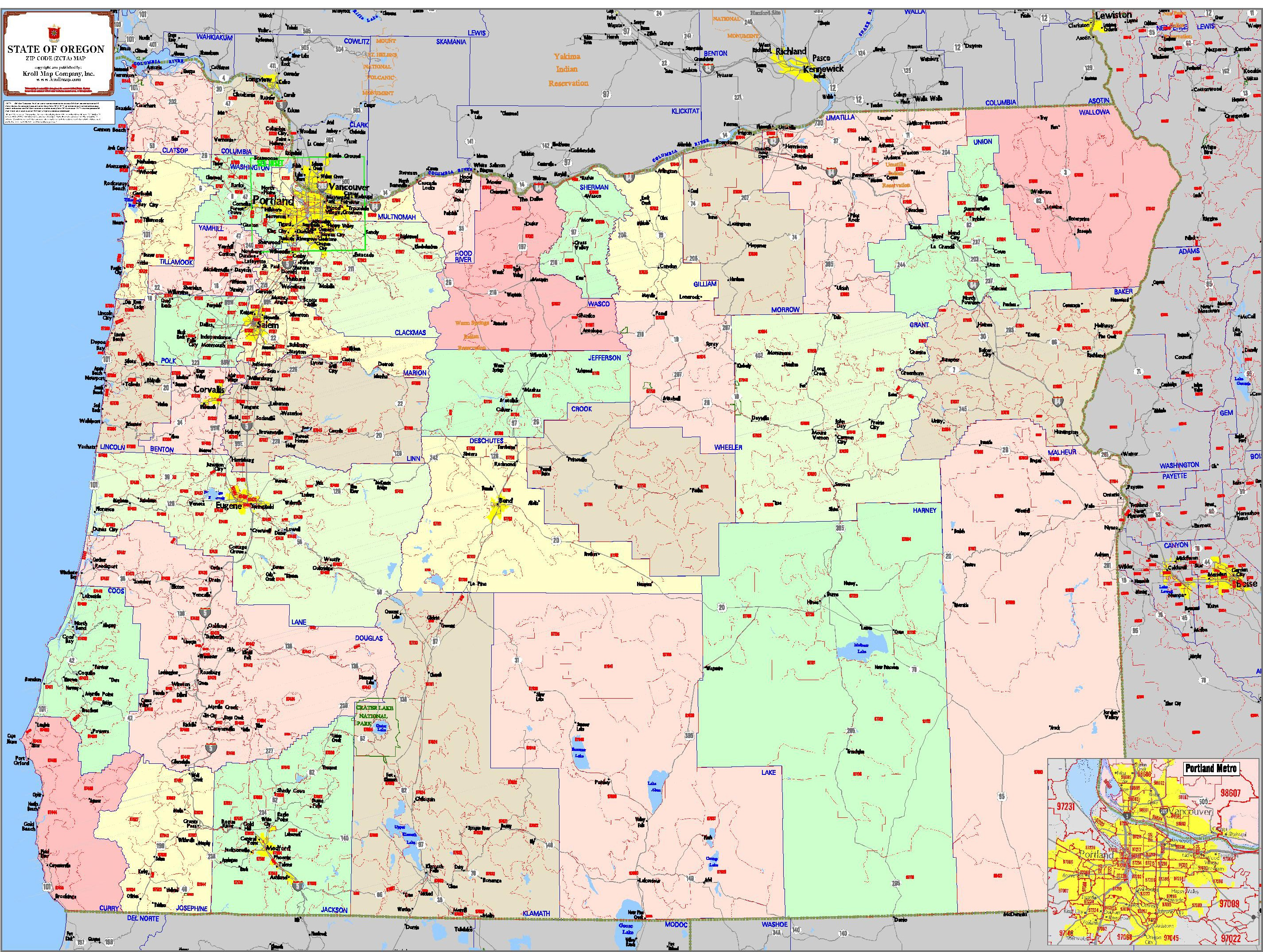 Oregon State Map With Counties.State Regional Level Mapping Kroll Map Company