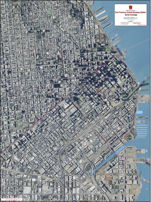 San Francisco Bay Area Central Business District Aerial View Map 27″x 36″ $19.95 paper, $29.95 laminated