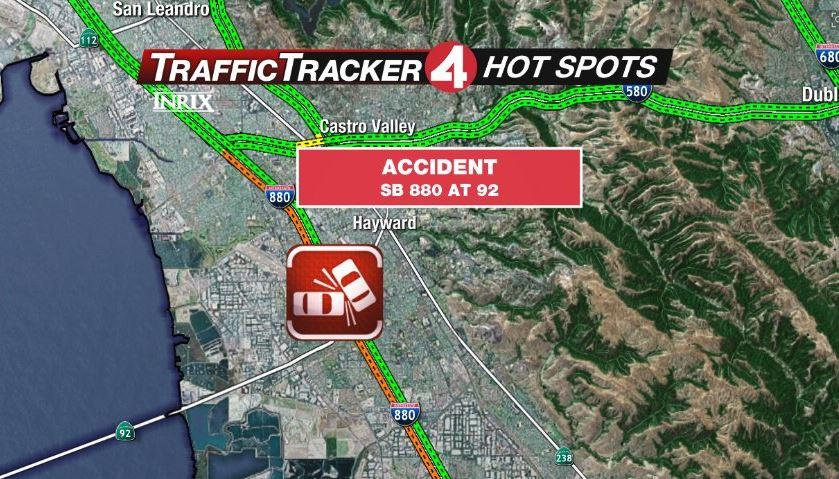 HOT SPOT: Traffic accident blocking 4 lanes on I-880 in Hayward