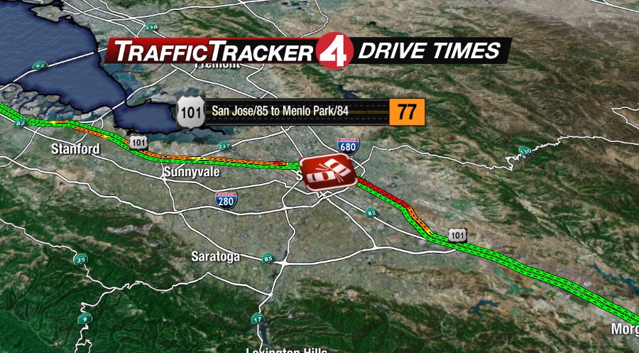 Accident involving motorcycle, 6 cars blocks lanes on US-101 in San Jose