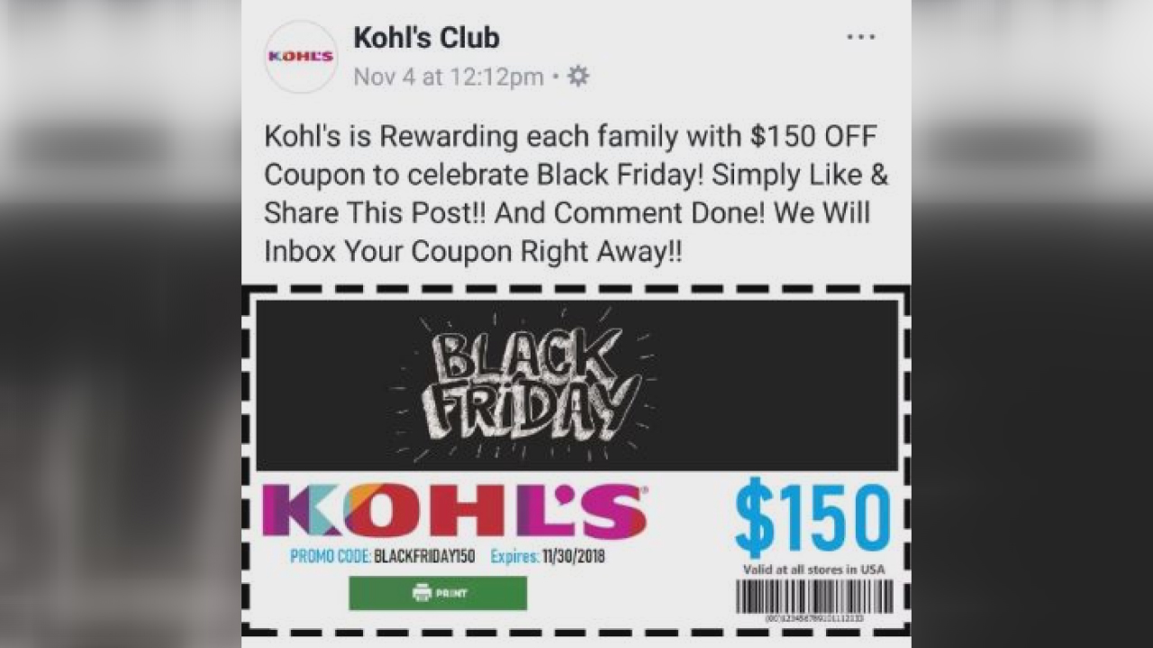 kohls coupon scam
