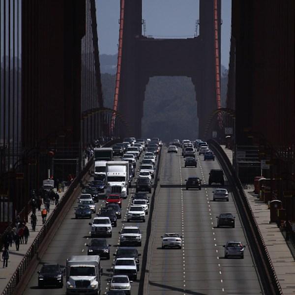 san francisco cars driving golden gate bridge
