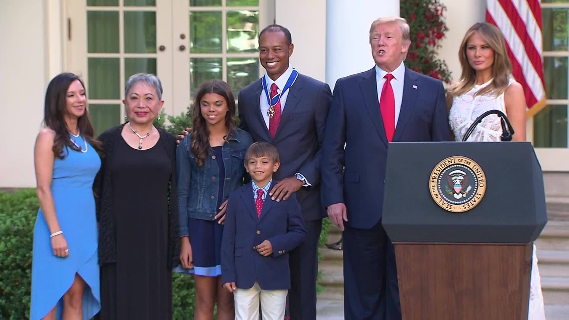 Tiger Woods receives the Presidential Medal of Freedom