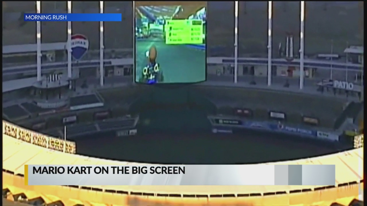 fed1de52 News helicopter catches game of 'Mario Kart' on Jumbotron