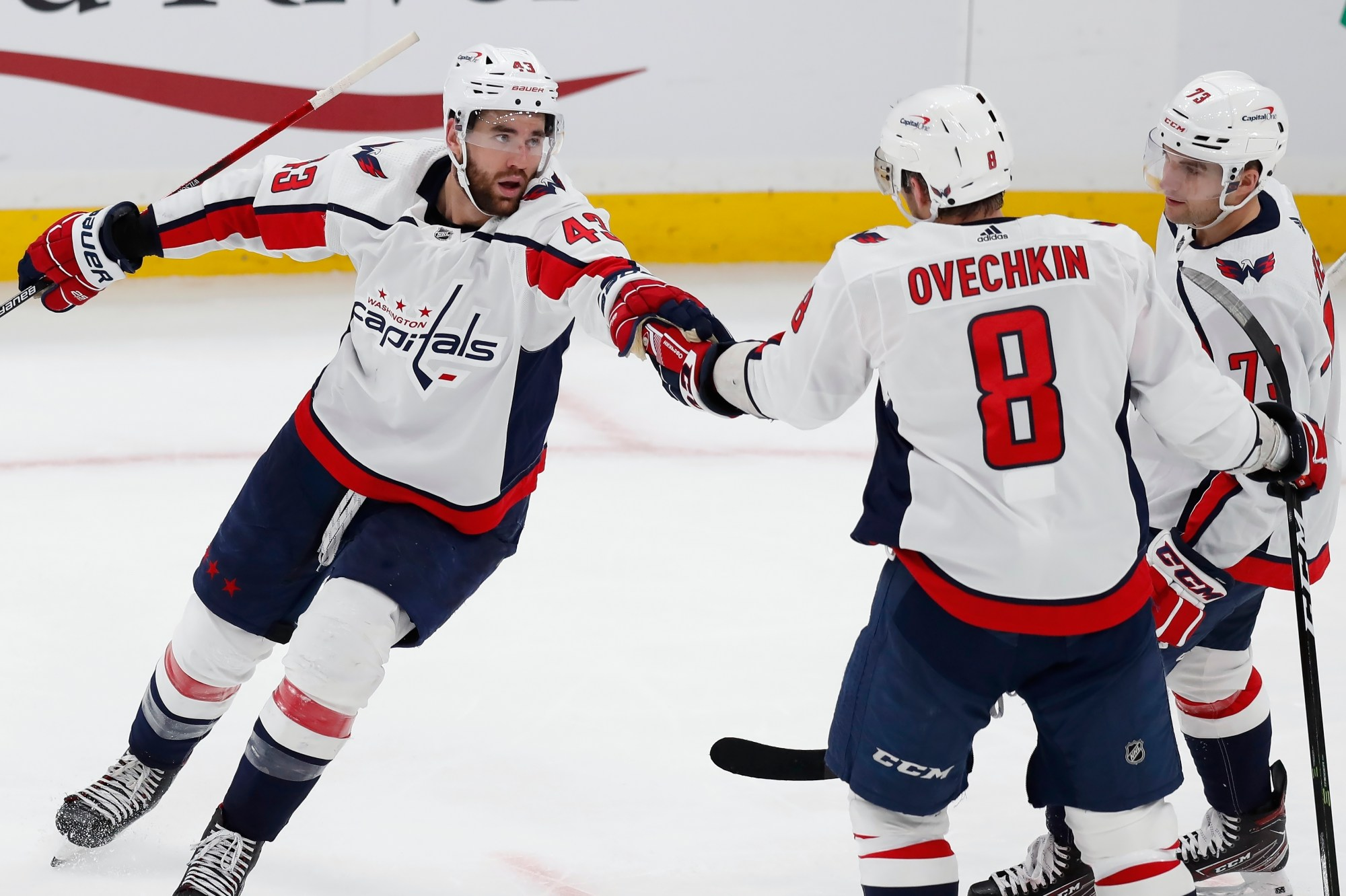 Tom Wilson, Alex Ovechkin, Conor Sheary