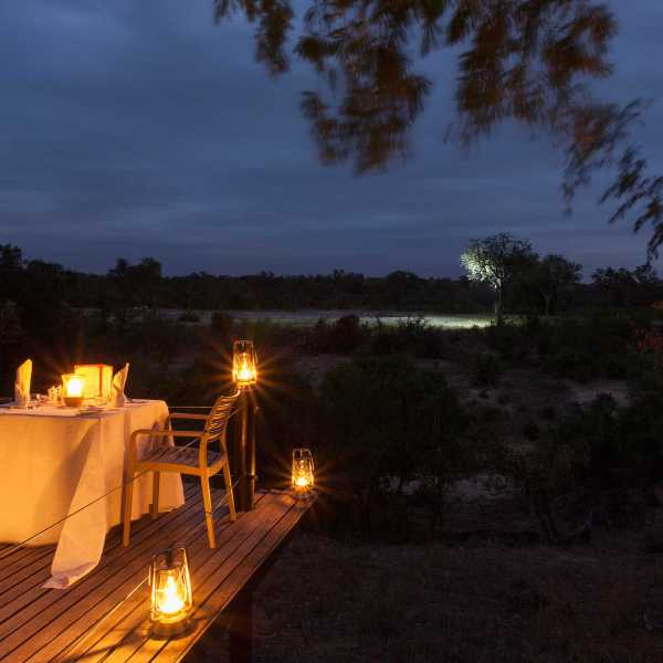 Simbambili Game Lodge Night Time Dining