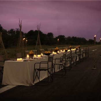 Thornybush Game Lodge Airstrip Dinner