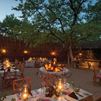 Motswari Private Game Reserve Evening Dinner Setup at the Reserve