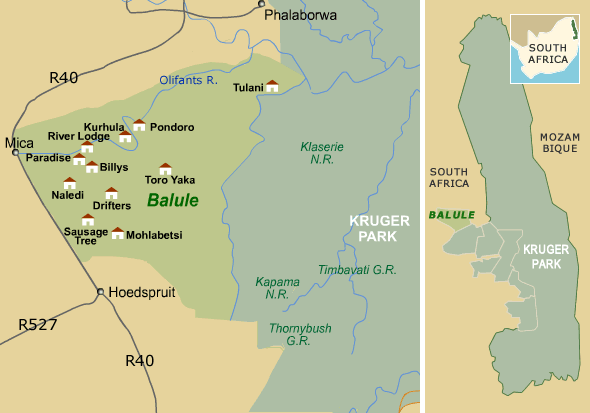Balule Private Game Reserve Map