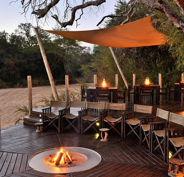 Rhino Post Safari Lodge Deck Fireplace