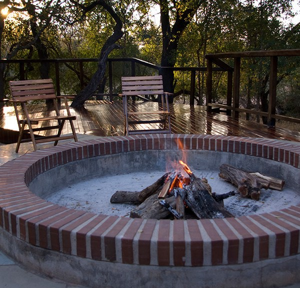 Shumbala Lodge Outdoor Fireplace