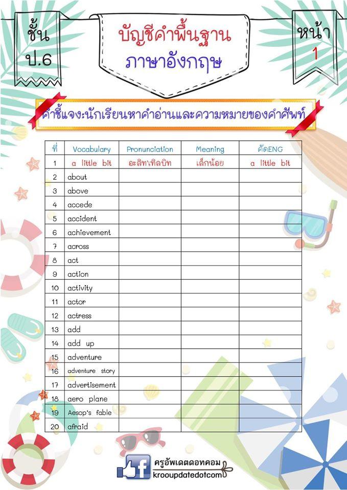 ตัวอย่างรูปเล่มสมุดเล่มเล็กบัญชีคำพื้นฐานภาษาอังกฤษของนักเรียนชั้น ป.6