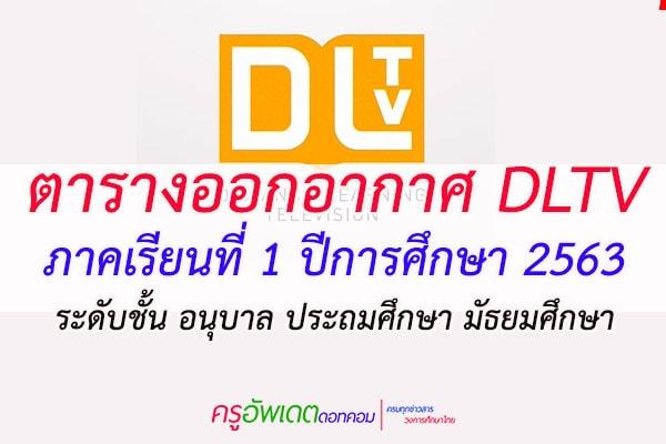 ตารางออกอากาศ DLTV ภาคเรียนที่ 1 ปีการศึกษา 2563 ระดับชั้น อนุบาล ประถมศึกษา มัธยมศึกษา