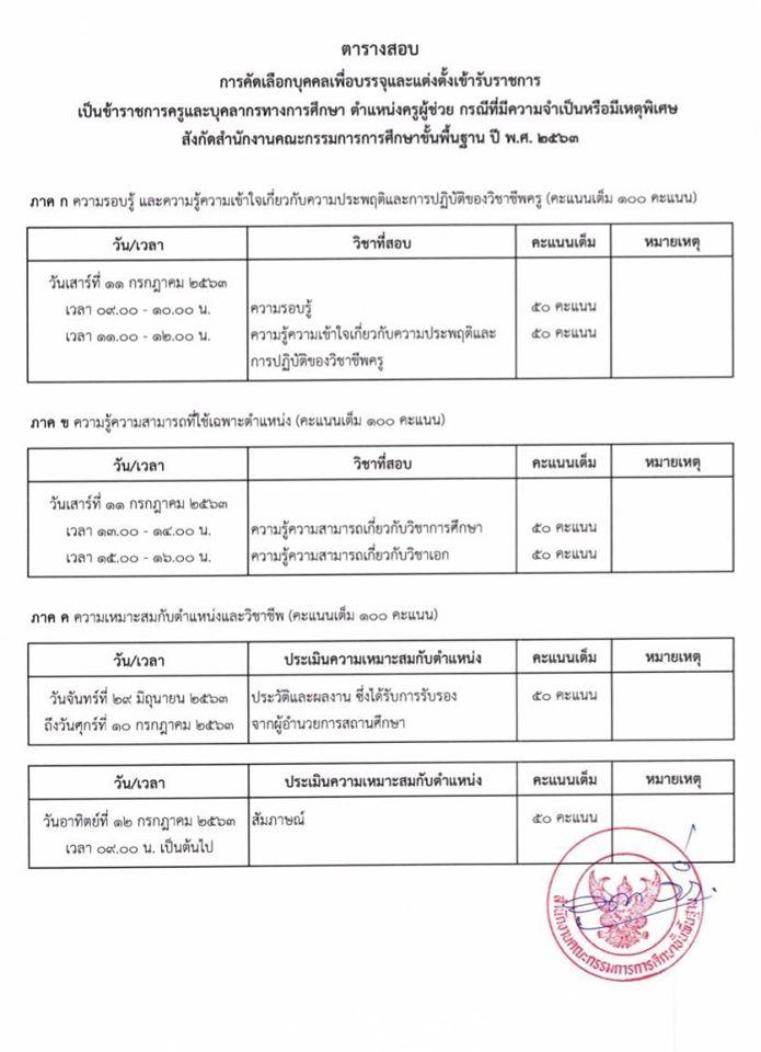 ตารางสอบ ครูผู้ช่วย กรณีพิเศษ กำหนดการ หลักสูตรสอบ ครูผู้ช่วย  กรณีพิเศษ 2563