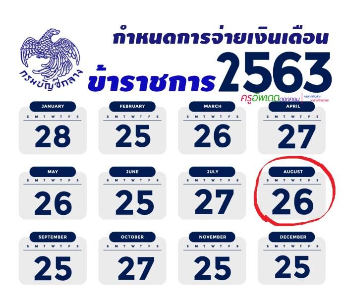 กำหนดการ จ่ายเงินเดือน ข้าราชการ เงินเดือน ครู ประจำปี พ.ศ. 2563