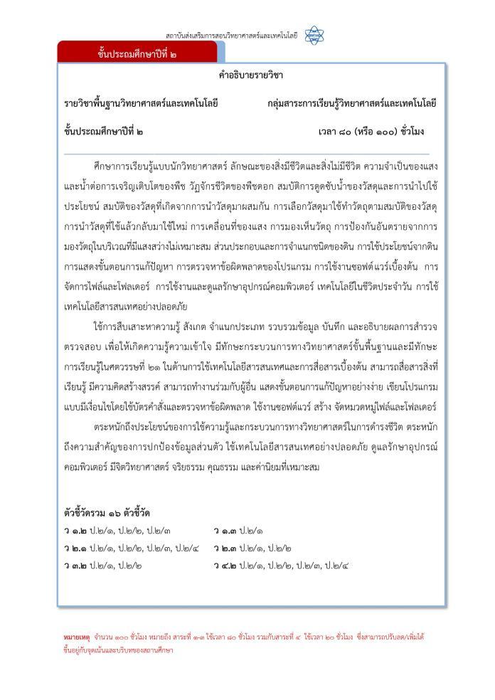 ตัวอย่างคำอธิบายรายวิชา วิทยาการคำนวณ ป.1-ม.6 จาก สสวท. ป.2
