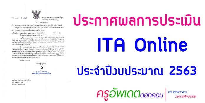 ประกาศผลการประเมิน ITA Online ประจำปีงบประมาณ 2563