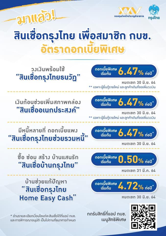 ข่าวดี!!! 5 สินเชื่อกรุงไทย อัตราดอกเบี้ยพิเศษ เพื่อสมาชิก กบข. โดยเฉพาะ