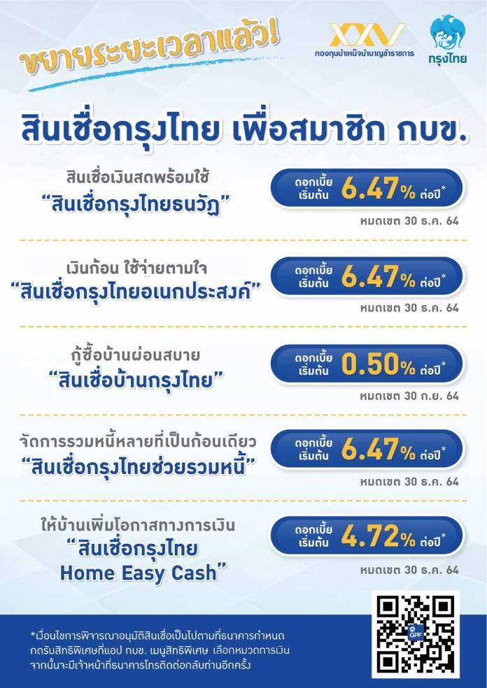 สินเชื่อกรุงไทยอัตราดอกเบี้ยพิเศษเพื่อสมาชิก กบข.