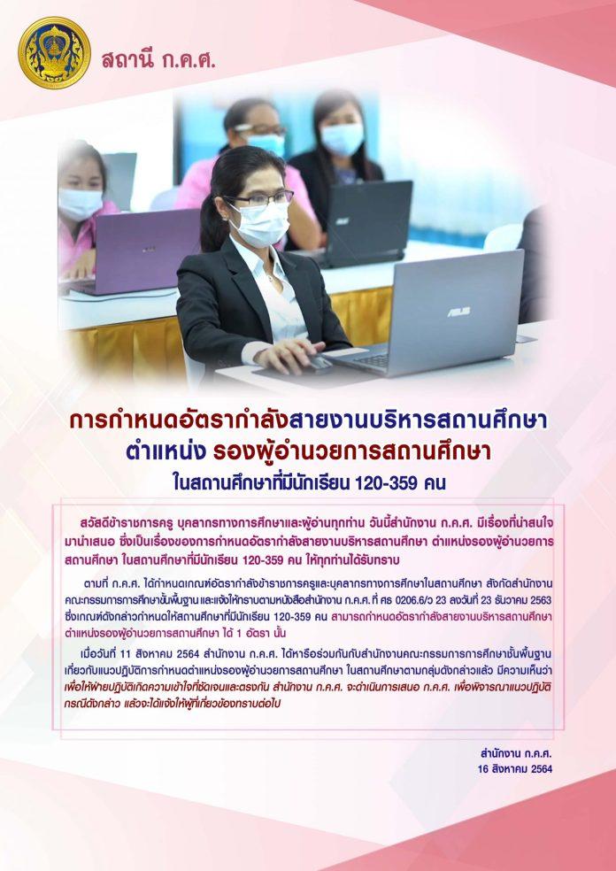 การกำหนดอัตรากำลังสายงานบริหารสถานศึกษา ตำแหน่งรองผู้อำนวยการสถานศึกษา ในสถานศึกษาที่มีนักเรียน 120-359 คน