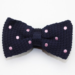 Blue Knitted Pink Polka Dots Men's Bow Tie