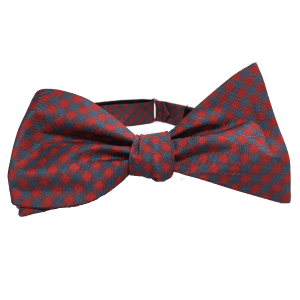 FORTRAN is a cherry red and gray gingham self-tied adjustable 100% silk bow tie by Kruwear