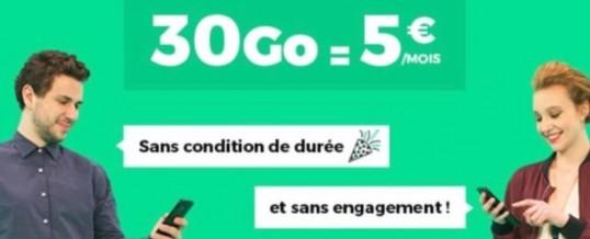 Offre RED by SFR Tout illimité 30Go de Data 5€ à vie