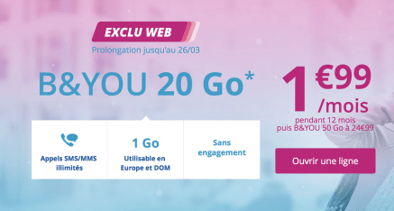Prolongation jusqu'au 26/03 – Bouygues B and YOU 20GO à 1€99 Exclu WEB