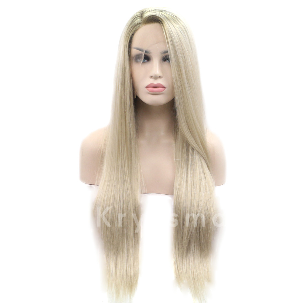 Ombre Blonde Straight Synthetic Lace Front Wigs Bblythe