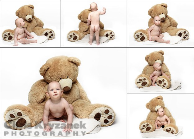 Baby and giant bear photo collage