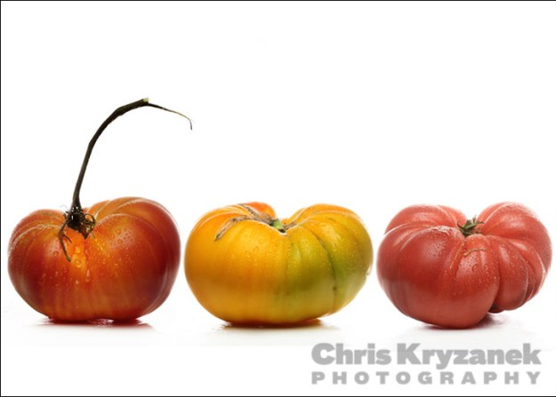 Three tomatoes on a white background