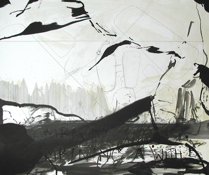 """Zeichnung von Wolfgang Kschwendt: """"A-FELLOW-LEAGUE"""" - 60 x 37 cm, Mixed Media auf Karton"""
